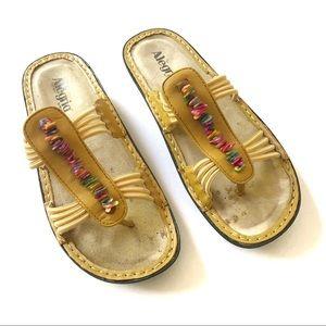 Alegria Mustard Beaded Thong Sandal Shoe